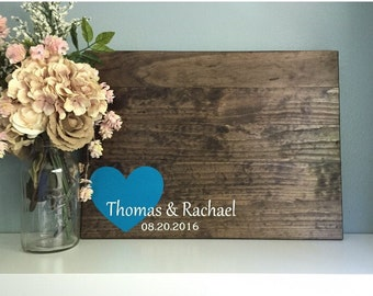 Rustic Wedding Guest Book Alternative / Original Corner Heart Design / Rustic Heart Rustic Decor Guest Sign In Wood Book Country Wedding