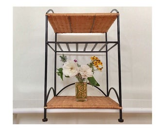 Mid Century Modern Record Player Stand - Metal and Wicker Small Table with Shelves - Wicker Newspaper Stand - Woven Magazine Stand - FUR-13