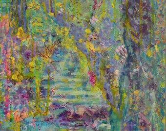 Abstract Art, Giclee Print, 18 x 24 canvas or paper, Behind the Veil of Spring, Take a peek behind the veil, a hypnotic magic awaits!