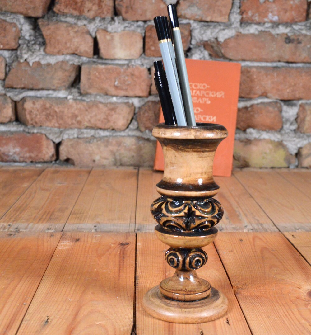 Handmade pencil holder carved candle