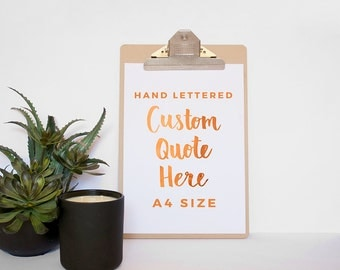 Custom A4 Quote No Frame - Made to Order Print - Wall art-Real Copper Foil Quote Print - Gold Foil Print - Custom Foil Print - Custom Design