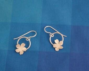 Silver Japanese Cherry Blossom Earrings
