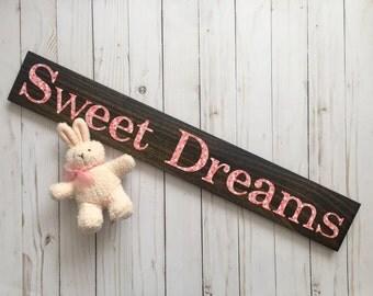 Girl Nursery Art, Sweet Dreams Sign, Nursery Signs, Coral Nursery Art, Wood Sign, Decoupage Art, Sweet Dreams, Girl's Room Art