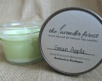 green apple // hand-poured 4oz jelly jar soy candle // natural soy wax // highly scented // rustic