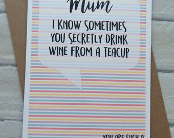 Handmade Birthday/Mothers Day Card (Secret Wine Drinker) Funny Adult Humour