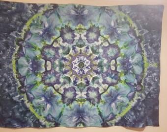 Ice Dye Tie Dye Wall Hanging Tapestry 100% Cotton Tablecloth Kaleidoscope Mandala design