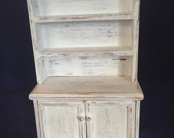 1:12th Scale Dollhouse Miniature Distressed Cabinet in White