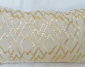 Robert Allen-Angel Lane- Decorative Lumbar pillow Cover with  Embroidered Geometric Pattern / Linen