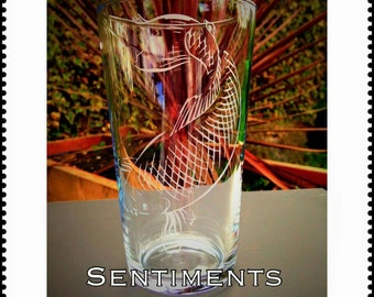 Engraved Pint glass with Carp design - Personalised