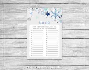 Winter Baby Shower Baby ABCs Game - Printable Baby Shower Baby ABCs Game - Baby It's Cold Outside Baby Shower - Baby ABCs Game - SP144