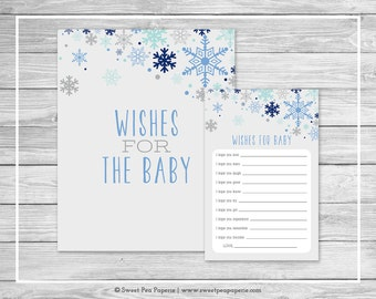 Winter Baby Shower Wishes for Baby Cards - Printable Baby Shower Wishes for Baby Cards - Baby It's Cold Out Baby Shower - Baby Wishes- SP144