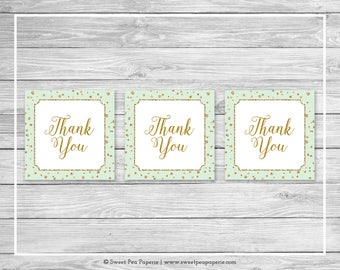 Mint and Gold Baby Shower Favor Thank You Tags - Printable Baby Shower Thank You Tags - Mint and Gold Baby Shower - Favor Tags - SP147