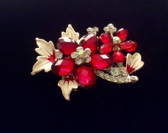 Red and Cream Enamel and Rhinestone Floral Brooch