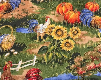 Country farm rooster sunflower tan curtain valance