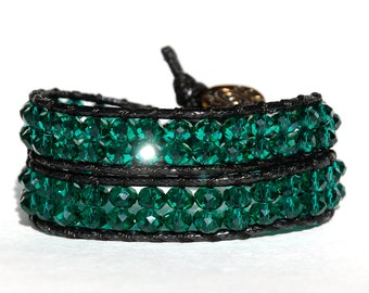 Emerald Crystal bracelet Wrap bracelet Green bracelet chunky bracelet gift|for|her Mens bracelet for boyfriend Women bracelet for girlfriend