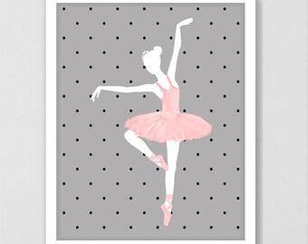 Ballet art print, ballerina print, ballerina wall art, girls wall art, ballet print, girl's bedroom decor, girl's gifts