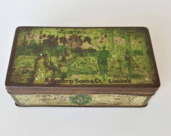 Muratti Neb Ka Cigarette Tin, No 2, 50 Neb-Ka Cigarettes, Green Metal Box, Collectible 1910s Tobacciana Case, Nebka Collectable Edwardian