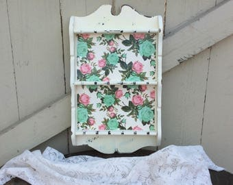 Shabby Chic Decoupaged Spoon Rack Finished in Antique White