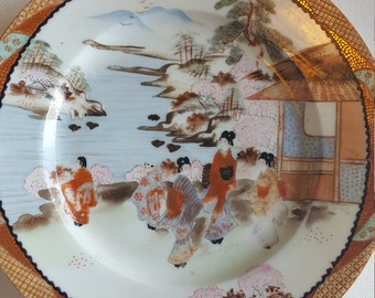 Antique Porcelain Kutani Hand Painted Signed Plate Geisha Girls Village Women  Art