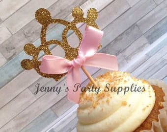 Set of 12 Gold Princess Crown Cupcake Toppers, Tiara Party Toppers, Cupcake Picks, Princess Birthday Party Ideas