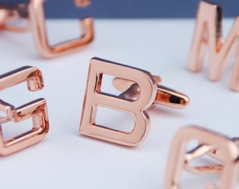 Personalised Rose Gold Plated Initial Letter Cufflinks, Alphabet Cufflinks, Engraved Box, Modern Font, Fathers Day Gift, Wedding, Best Man,