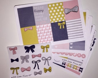 Preppy Spring Full-Week Planner Sticker Kit