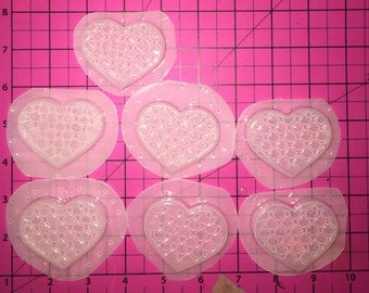 Gorgeous Thick  Mermaid Scale Heart - Flexible Plastic Resin Mold
