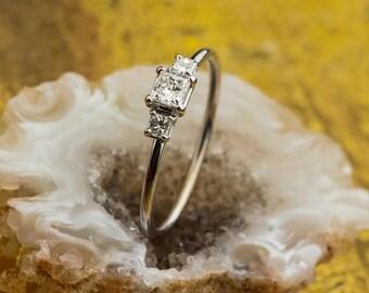 Princess Cut Diamond Engagement Ring, 18K White Gold Engagement Ring, 0,32 Diamonds Gold Engagement Ring, Zehava Jewelry