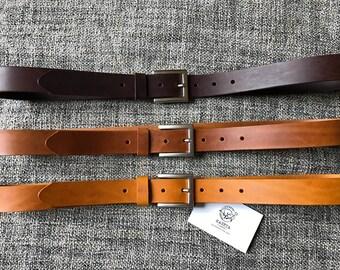 Leather Belt 'SQ Milan' 'Burned Tan' - KasetaLeather