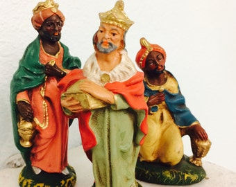 Italian Nativity Figurines, Three Kings Ceramic Figures, Chalkware Wise Men