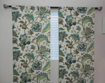 PAIR of window curtains window panels drapes window treatments floral curtains custom curtains designers curtains any size