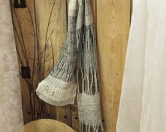 LINEN / COTTON white-beige, olive scarf (CCC1)