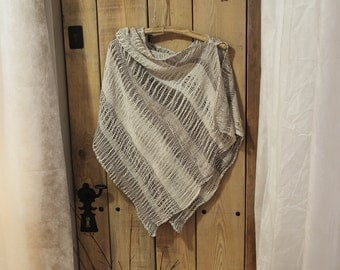 Linen shawl- brown color (07)