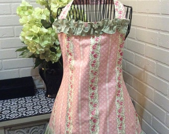 Handmade Pink and Green Floral Apron Fully Lined