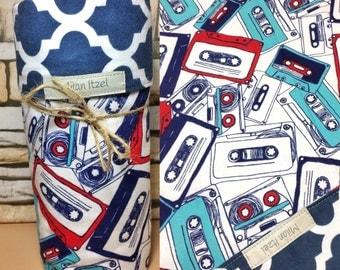 retro cassette tape blanket doublesided receiving blanket. Handmade blanket New baby blanket reversible babyshower gift 100% flanne