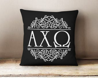 AXO Alpha Chi Omega Scroll Letters Pillow Choose Your Pillow Color