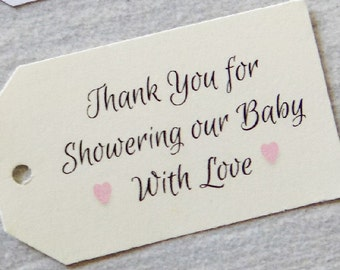 Favor Tags, Baby Shower Favor Tags, Baby Girl Favor Tags, Thank You Baby Shower, Kraft Tags, Baby Party, Baptism Favors, Thank You Tags
