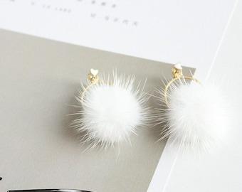 Unique Sweetheart White Pom Poms Gold Hoop Heart Gems Earrings