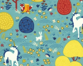 Magical Unicorns Fabric - Teal - sold by the 1/2 yard