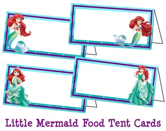 Disney Little Mermaid Food Labels, Little Mermaid Ariel Tent Cards, Ariel Birthday Party, Ariel Place Cards - Printable Instant Download