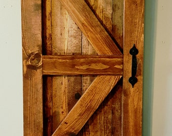 Mini Barn Door, Farmhouse Decor, Country Wall Hanging, Handmade, Wooden, Rustic, Stained