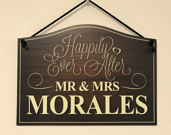 Happily Ever After Mr & Mrs Hanging Sign