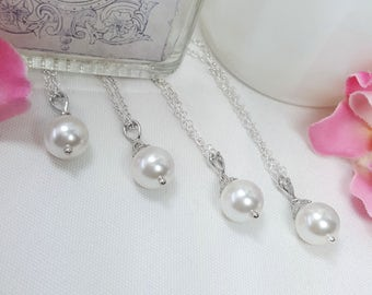 Set of 5 Bridesmaids Necklaces, Five Pair Maid of Honor Necklaces, Silver Wedding Jewelry, Swarovski Pearl Necklaces, Five Pairs, Adaline