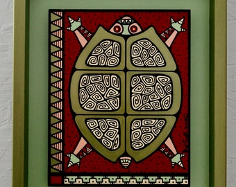 Metalic Green Turtle #7 Contemporary Whimsical Painting
