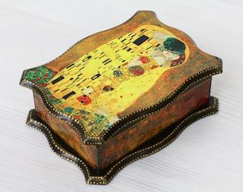 Klimt The Kiss Gift Box Wood Jewelry Box Wedding anniversary gift  Box Wood Retro Jewelry Box Gold Jewelry Box Wood  Klimt Gift For Her