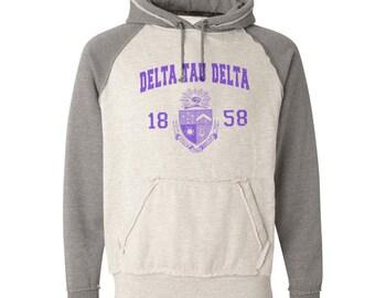 Delta Tau Delta Vintage Heather Hooded Sweatshirt - Purple Print (unless noted otherwise)