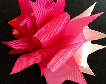 Pink Ombré Spikey Loop Boutique Hair Bow