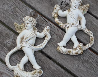 Cherubs Plaques Angels Universal Statuary Chicago 2 Figurines Wall Plaques Ivory Gold 1961 Set Pair Wall Decor Garden Decor Plaster