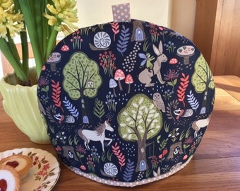 Tea cosy in woodland fabric tea cozy