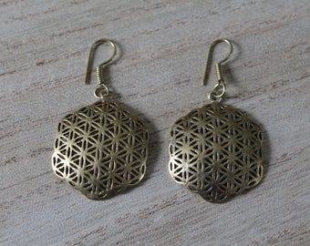 Pair of gypsy flower of life earrings
